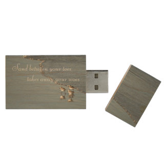 Sand Between Your Toes Beach Quote Custom Wood Flash Drive