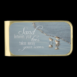 Sand Between Your Toes Beach Quote Gold Finish Money Clip