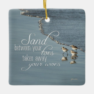 Sand Between Your Toes Beach Quote Mirror Hanger / Ceramic Ornament