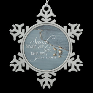 Sand Between Your Toes Beach Quote Mirror Hanger / Snowflake Pewter Christmas Ornament