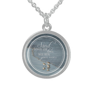 Sand Between Your Toes Beach Quote Sterling Silver Necklace