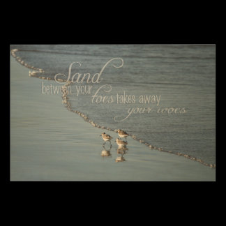 Sand Between Your Toes Beach Quote Wood Print