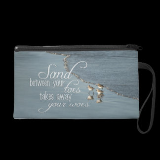 Sand Between Your Toes Beach Quote Wristlet Purse