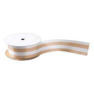 Sand Brown and White Horizontal Stripes Satin Ribbon