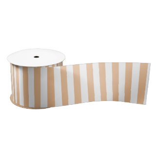 Sand Brown and White Vertical Stripes Satin Ribbon
