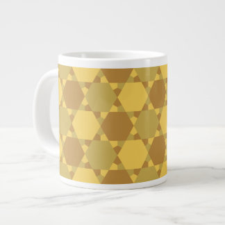 Sand Brown Star Optical Illusion Pattern Giant Coffee Mug