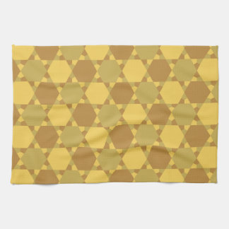Sand Brown Star Optical Illusion Pattern Hand Towel