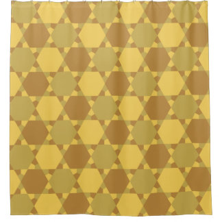 Sand Brown Star Optical Illusion Pattern Shower Curtain