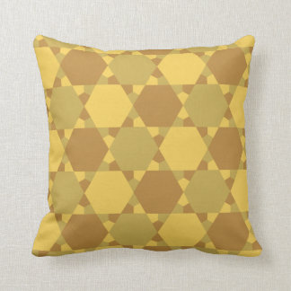 Sand Brown Star Optical Illusion Pattern Throw Pillow
