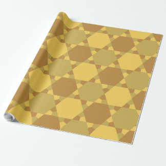 Sand Brown Star Optical Illusion Pattern Wrapping Paper