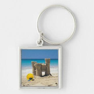 Sand Castle And Pail On Tropical Beach Keychain