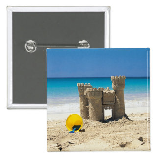 Sand Castle And Pail On Tropical Beach Pinback Button