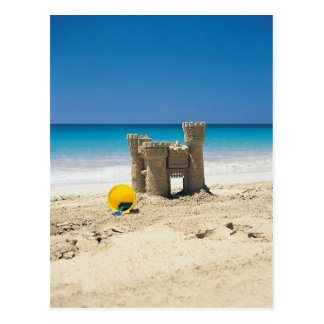 Sand Castle And Pail On Tropical Beach Postcard