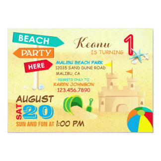 Sand Castle Beach Party Birthday Invitations