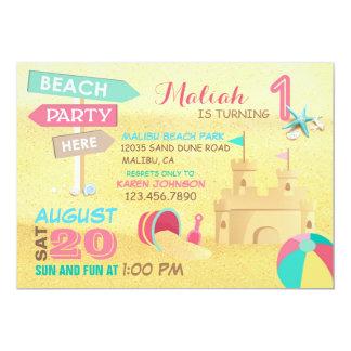 Sand Castle Beach Party Birthday Invitations