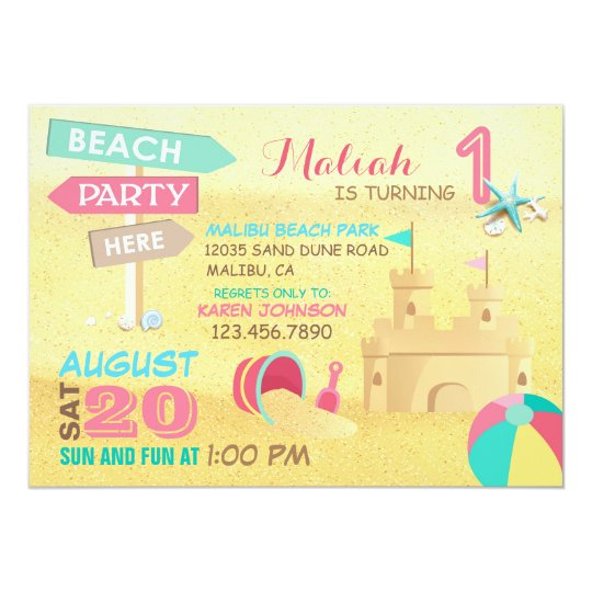 sand castle beach party birthday invitations zazzle com