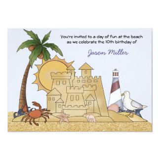 "Sand Castle Beach Party Invitation 5"" X 7"" Invitation Card"