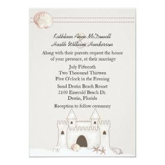 Sand Castle Beach Theme Wedding 5x7 Paper Invitation Card