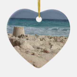 sand castle Double-Sided heart ceramic christmas ornament