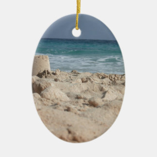 sand castle Double-Sided oval ceramic christmas ornament