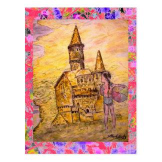 sand castle drip postcard