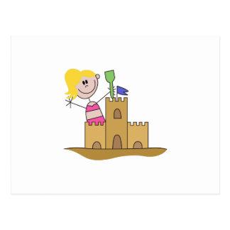 Sand Castle Girl Postcard