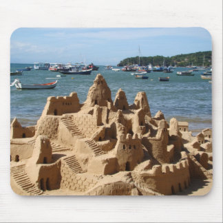 sand castle on the beach mouse pad