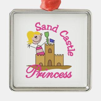 Sand Castle Princess Square Metal Christmas Ornament