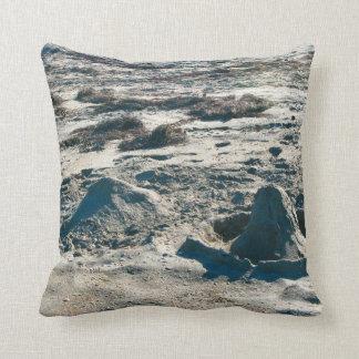 sand castles lumps on florida beach throw pillows