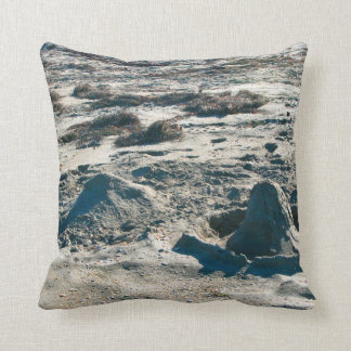 sand castles lumps on florida beach throw pillow