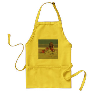 Sand Child Cute little girl playing on beach Adult Apron