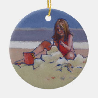 Sand Child Cute little girl playing on beach Ceramic Ornament