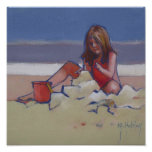 Sand Child Cute little girl playing on beach Poster