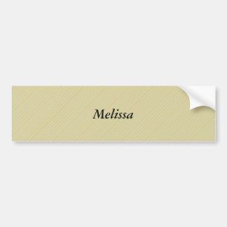 Sand color modern stripe pattern, with Name Bumper Sticker