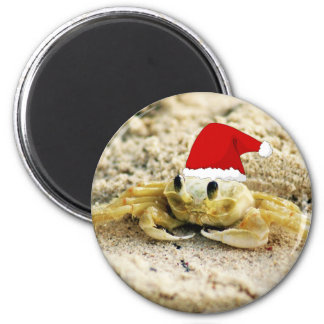 Sand Crab in Santa Hat Christmas 2 Inch Round Magnet