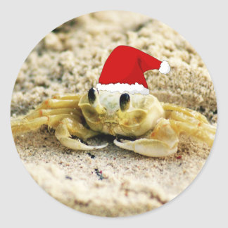 Sand Crab in Santa Hat Christmas Classic Round Sticker