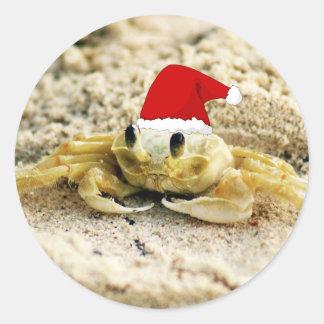 Sand Crab in Santa Hat Christmas Classic Round Sticker