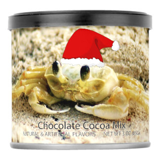 Sand Crab in Santa Hat Christmas Hot Chocolate Drink Mix