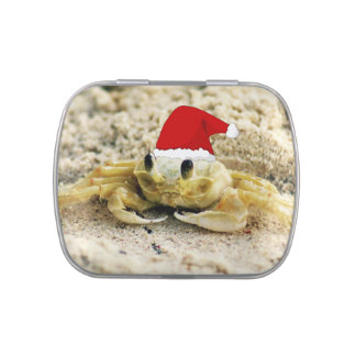 Sand Crab in Santa Hat Christmas Jelly Belly Tin