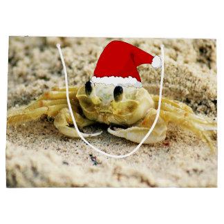 Sand Crab in Santa Hat Christmas Large Gift Bag