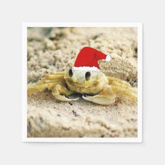 Sand Crab in Santa Hat Christmas Paper Napkin