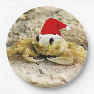 Sand Crab in Santa Hat Christmas Paper Plate