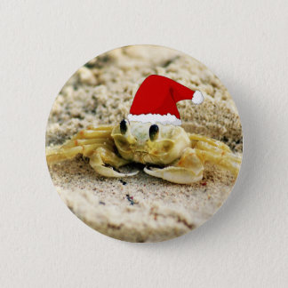 Sand Crab in Santa Hat Christmas Pinback Button