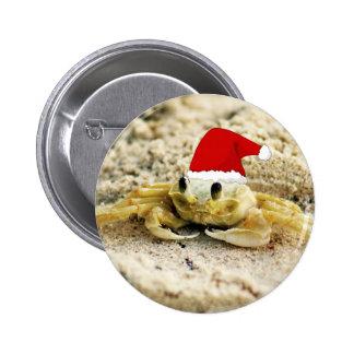 Sand Crab in Santa Hat Christmas Pinback Button