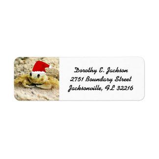 Sand Crab in Santa Hat Christmas Return Address Label