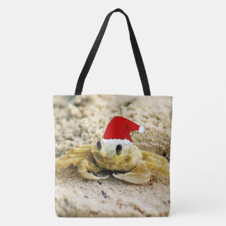 Sand Crab in Santa Hat Christmas Tote Bag