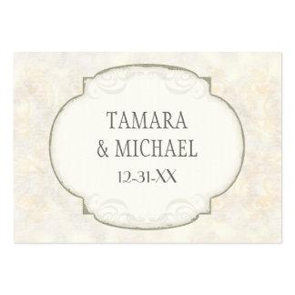 Sand Damask Ocean Beach Nautical Themed Wedding Business Cards