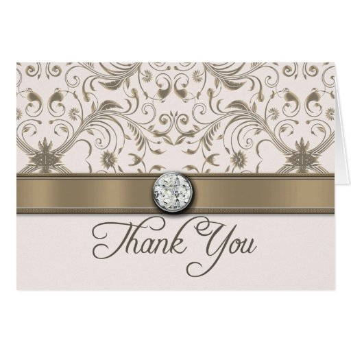 Sand Damask Wedding Thank You Blank Note Card