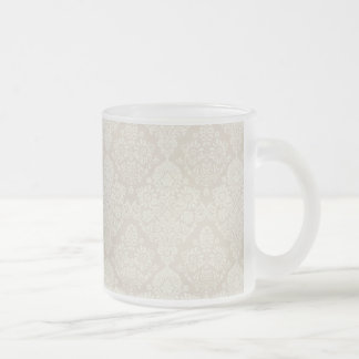 Sand Delicate Floral Swirl 10 Oz Frosted Glass Coffee Mug