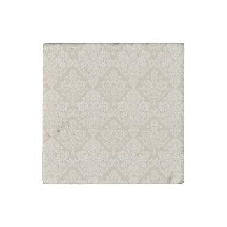 Sand Delicate Floral Swirl Stone Magnet